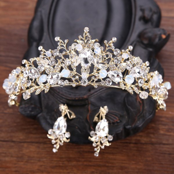 Luxury Handmade Pink White Rhinestone Bridal Crown Tiara Gold Crystal Diadem Tiaras for Bride Headbands Wedding Hair Accessories D19011102
