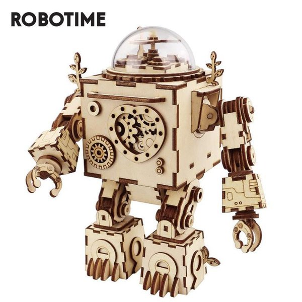 top popular Robotime DIY Steampunk Robot Music Box 3D Wooden Puzzle Musical Toys Assembly Model Building Kit AM601 2020