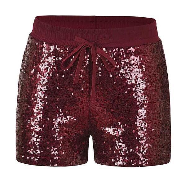 Moda Mujer Lentejuelas Pantalones Cortos Bolsillos de cintura elástica Pantalones cortos de otoño delgados Sexy Pantalones cortos calientes espumosos Plata / Borgoña / Oro Femme corto