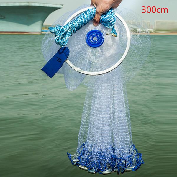 Rete da pesca stile americano Cast Mesh con anello Facile da usare Accessori sportivi pieghevoli Monofilamento Filo da mosca Strumenti da lancio a mano per esterno