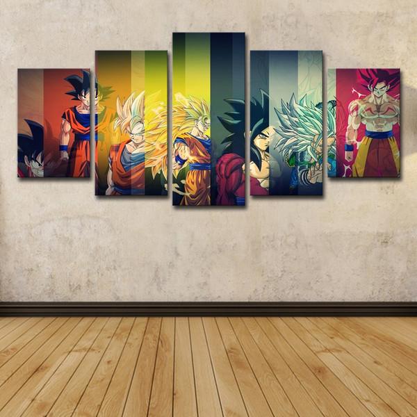 5 piezas Dragon Ball Z Wall Art HD Imprimir lienzo pintura moda colgar cuadros