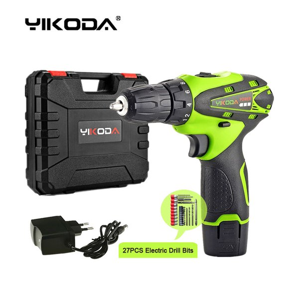 best selling 12V Cordless Screwdriver Household Mini Hand Electric Drill Lithium Multi-function Power Tools One Battery Plastic Case Plus Drill Bits
