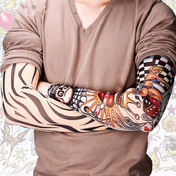New Cool Men Tattoo Sleeves UV Cool Arm Sleeves Cycling Running Arm Warmer Sport Elastic Fashion Oversleeve Arm Warmers