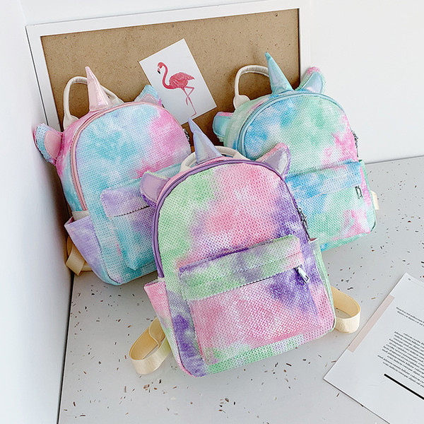Sequin unicorn backpack cartoon Outdoor sports colorful backpack travel school stuff bags student fashion baby girl storage bags FFA2782-1