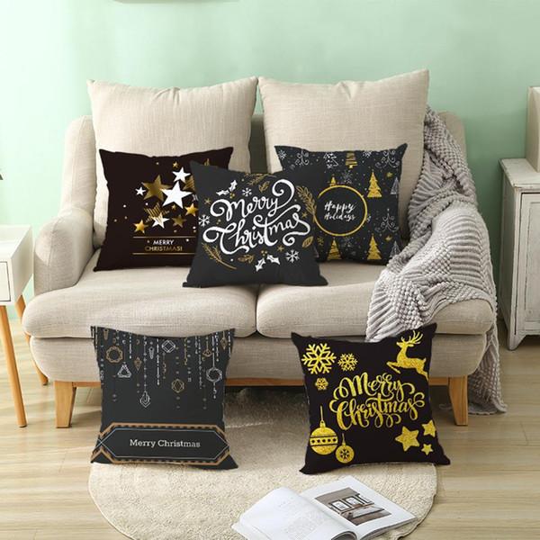 Chrismas Snowflake Elk Star Pillow Case Cushion Cover Office Home Sofa Decor