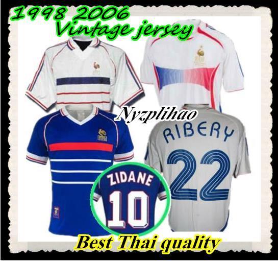 Compre 2006 1998 Zidane Retro Camisolas De Futebol Djorkaeff Henry Home  Deschamps Camisas Clássicas Camisas De Futebol Do Vintage Maillot De Pé