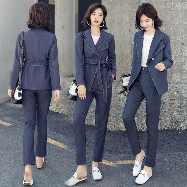 Traje coreano de las mujeres chaqueta Blazer 2 piezas conjunto trajes de pantalón formal Office Lady uniformes diseños para mujeres trajes de trabajo ropa de trabajo