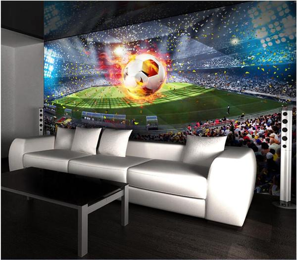 WDBH custom photo 3d wallpaper HD huge football field tv background painting living room home decor 3d wall murals wallpaper for walls 3 d