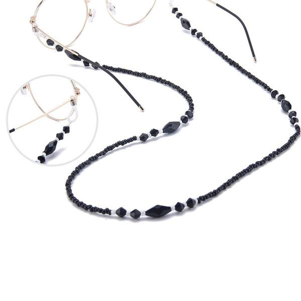 Catene donne occhiali Perle acrilico nero Catene antiscivolo Holder Eyewear cavo laccio occhiali da lettura corda