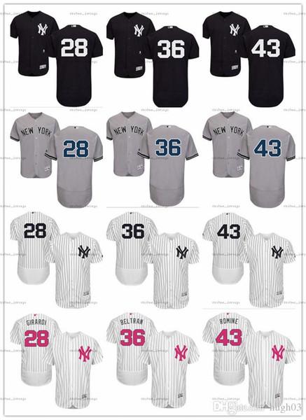 2018 personnalisé Hommes Femmes Jeunes Maillot NY Yankees # 28 Joe Girardi 36 Carlos Beltran 43 Austin Romine Domicile Noir Blanc Gris Chandails