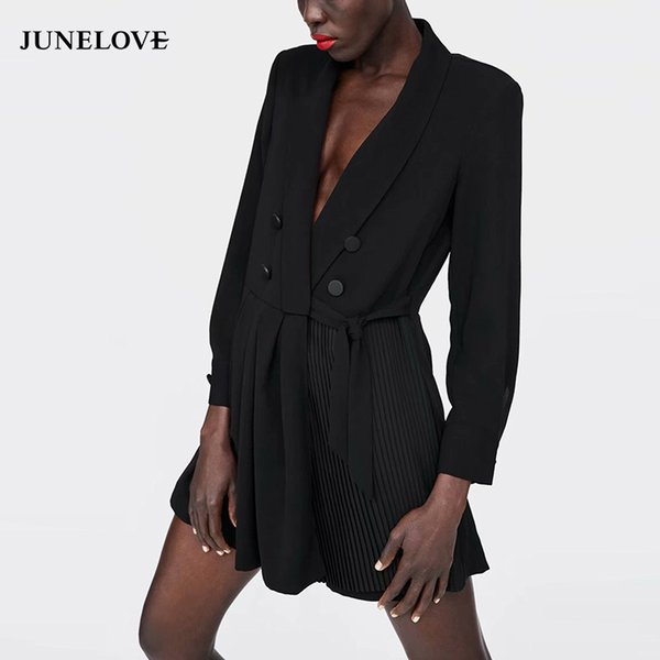 Junelove Women Formal Black Playsuits Vintage Loose Female Lace-up Pleated Playsuits Casual Long Sleeve V-neck Sexy Lady Rompers Y19051601