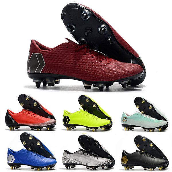 Botas de fútbol rosadas para hombre Zapatillas de fútbol Mercurial Superfly VI 360 Elite SG Calzas altas Ankl e CR7 Chuteiras