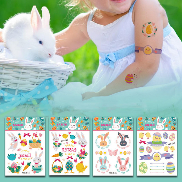 11 * 7.5cm étanche temporaire faux oeuf de Pâques tatouage autocollants lapin lapin de bande dessinée enfants enfants art du corps composent 14 outils styles C6087