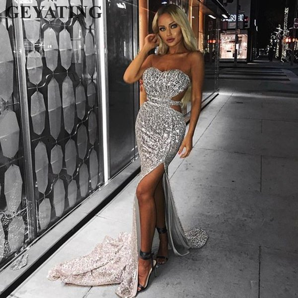 side split cutout silver sequined mermaid prom dresses long backless black rose gold women formal maxi evening party dress
