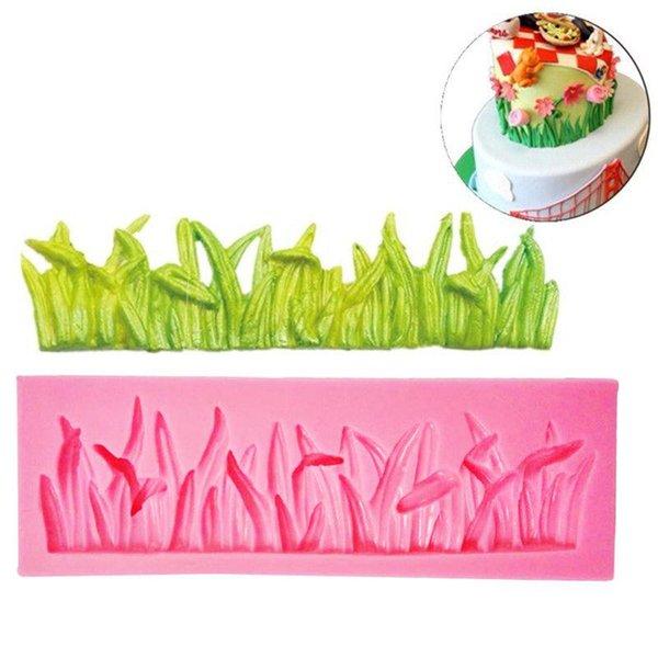 Mayitr grama verde molde de silicone bolo moldes fondant de chocolate decoração do bolo diy ferramentas de cozimento de casamento 12x4x1.3 cm