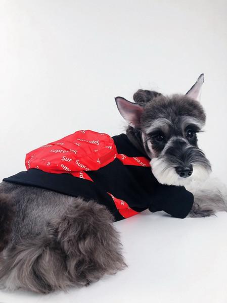 Sup fa hion pet clothe with bag black white hoody luxury de igner dog t hirt teddy bulldog chnauzer apparel xxl