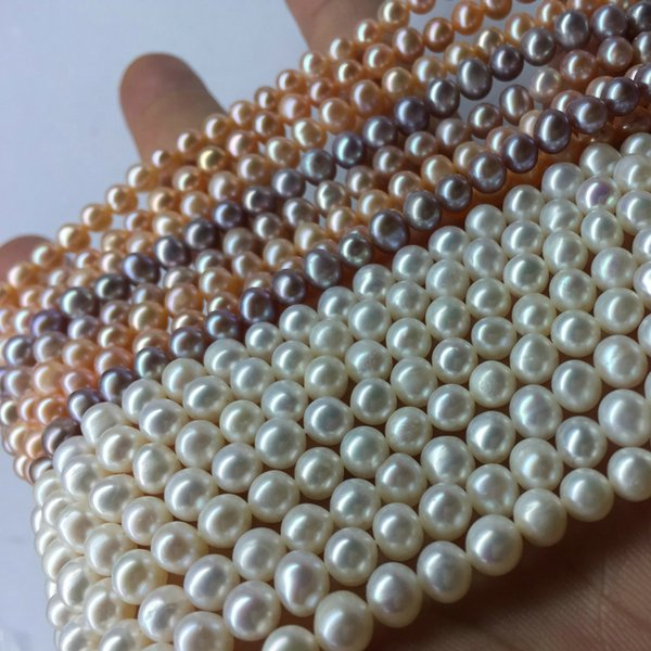 3 COLORS FOR CHOOSE WHITE PINK LILAC Pearl 7-6MM Cultured AKOYA freshwater Pearl BEADS FOR BRACELET NECKLACE DIY JEWELRY MAKING