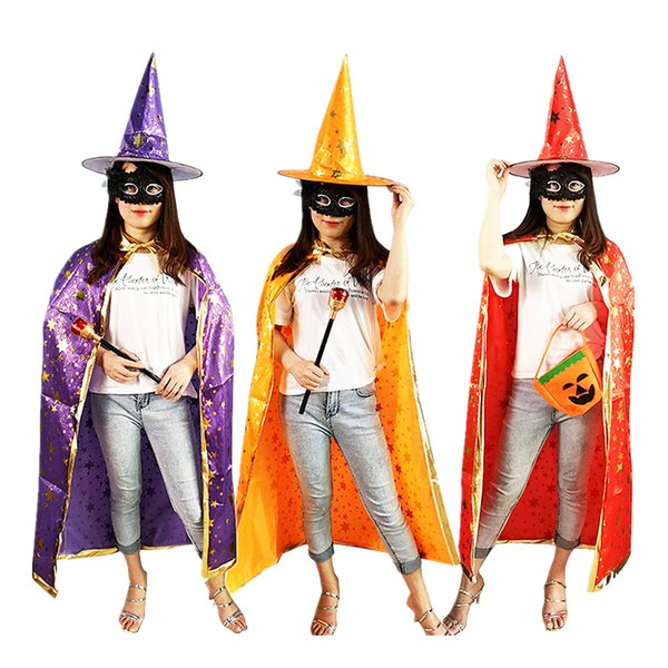 halloween costume party children kids cosplay costume witch dress with hat boys girls cosplay halloween decorations accessories