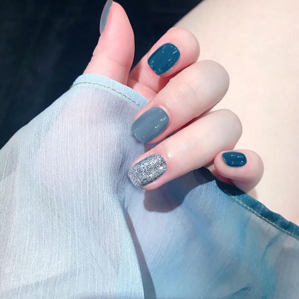 DIY Taille courte Full Cover Nail Tips avec de la colle Femmes Style Américain De Mode Faux Ongles Filles D'été Simple Bleu Couleur False Nails