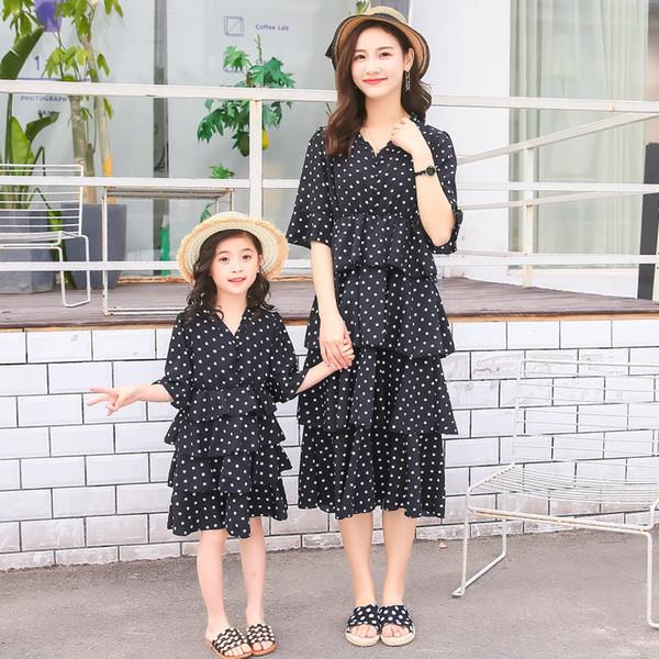 e37824bbb9 2019 Parent-child Dress Summer Dress Foreign Chiffon Dot Dress Slim Stylish  Mother and Daughter Slim Skirt
