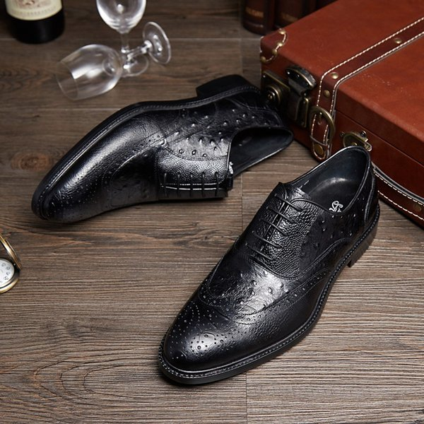 Cowhide Sole Brown Tan / Black Oxfords Mens Business Shoes Genuine Leather Dress Shoes Boys Prom Shoes
