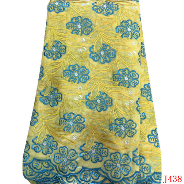5 Yards Swiss Voile Lace Fabric 2019 Yellow High Quality Nigeria African Embroidered Cotton Lace Fabric with Stones L438