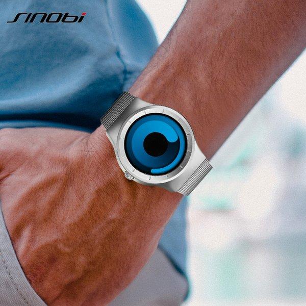 SINOBI Marca creativo Deportes reloj de cuarzo correa de acero inoxidable de los hombres para hombre Relojes Moda 2019 Rotación Reloj Masculino Relógio