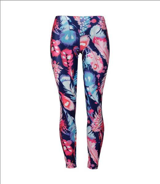 New Woman Girl Fitness Sexy Leggings Summer Feather Print Mid-waist Gloss Pencil Pants Slim Elastic Workout Tights Milk Silk Trousers S-XL