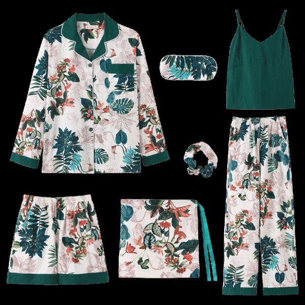 2019 Outono Inverno 7 Pieces Set Pants Cotton Elegante Mulheres Pijamas completa Shorts Top manga comprida Elastic cintura Silk Salão Robe