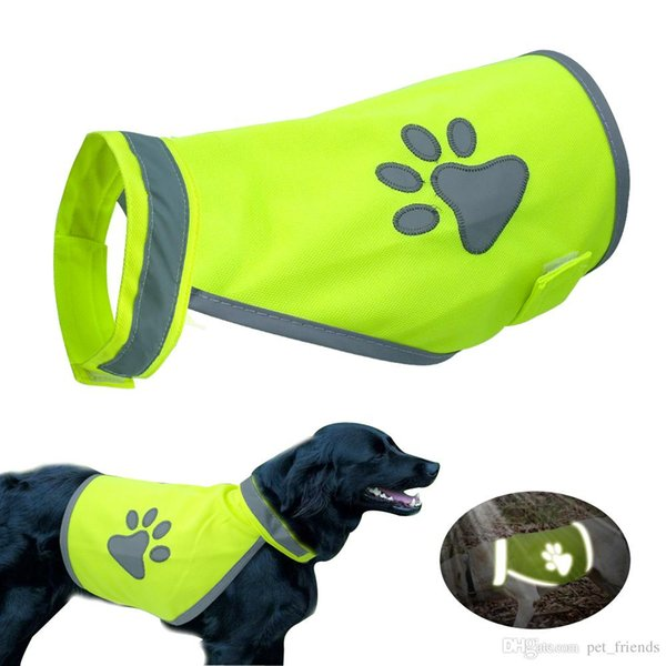 Reflective Dog Vest Clothes High Visibility Small Large Dogs Safety Vests Harness For Outdoor Hiking Walking With Paw Print