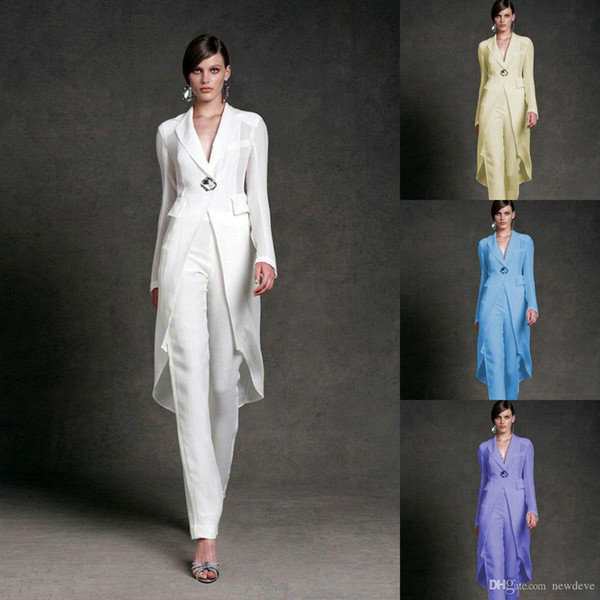 Jumpsuits 2019 Mother of the Bride Dresses V Neck Pant Suits Wedding Guest Gowns With Jackets Long Sleeve Chiffon Mothers Groom Dresses