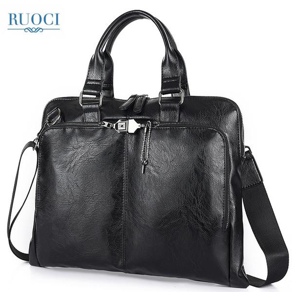 RUOCI Мужская сумка через плечо Сумка для бизнеса Деловой портфель Кожаная мужская сумка Сумка для ноутбука Мужские дорожные сумки черный коричневый