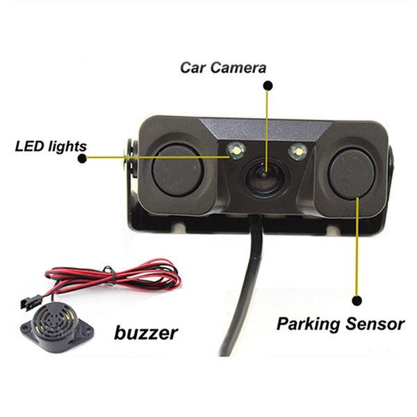 Dash Cam di visione notturna monitor della macchina fotografica 2 LED macchina fotografica di retrovisione con il radar del sensore di parcheggio Accessori Gps Tracker # YL5