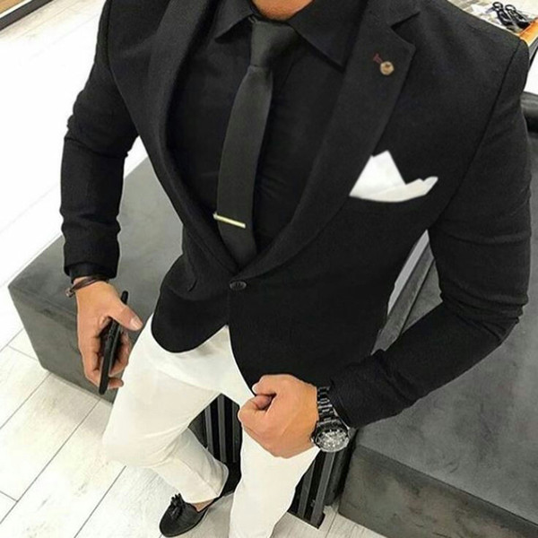 Black Men Suits for Wedding Suits Pants Terno Masculino Groom Tuxedos Two Pieces Groomsmen Wear Slim Fit Men Suits Prom Party (Jacket+Pants)