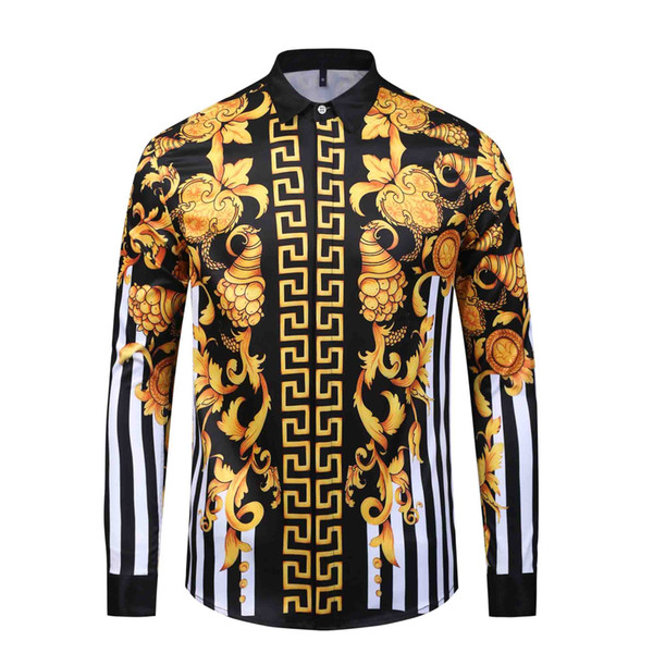 Camicie slim fit AAFashion Uomo 3D Medusa oro nero Stampa floreale Camicie con maniche lunghe Camicie casual da uomo d'affari Abbigliamento da uomo