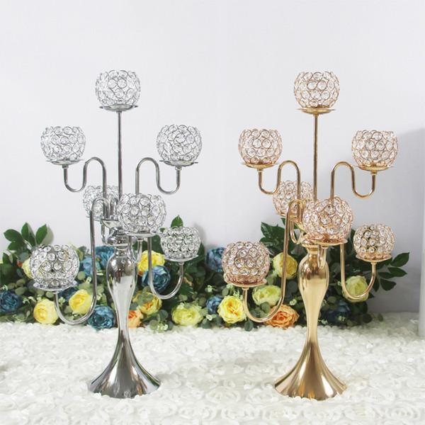 Candelabri di cristallo Altezza 7-Arms Portacandele Ciondoli 75CM Centrotavola di matrimonio Candeliere di lusso Home Decorazione del partito