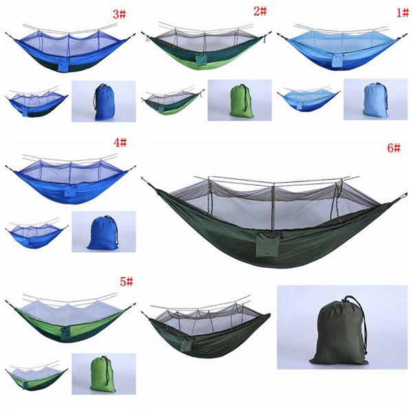 Dobrável Mosquiteiro Rede Parachute Pano Rede Hammock Tenda de Acampamento Ao Ar Livre Do Jardim Camping Balanço Pendurado Cama Com Corda Gancho DBC VT1737