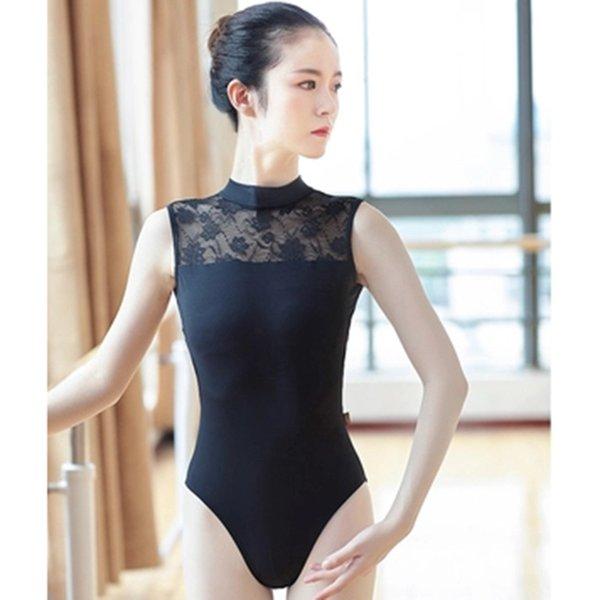 Edad Niñas ballet Leotardo sin mangas atractivo de las mujeres de gimnasia Negro blanco del cordón femenino sin respaldo aptitud profesional del traje