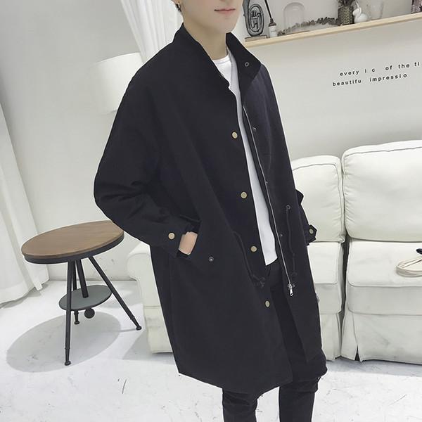 Moda solta fit longo casaco de trincheira dos homens casuais jaqueta estudante gola outerwear 2019 novo outono inverno plus size