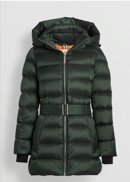 das mulheres com capuz jaqueta de esqui Terno Belt cintura cor sólida Down Jacket Inverno Vestuário Outdoor 2019 Inverno New Thickcoat
