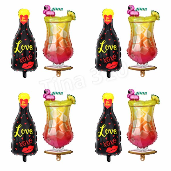 Hot flamingo balloons wine glass balloon party decoration wine bottle aluminum film balloon bar party decoration balloon T2I5012