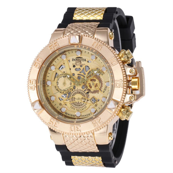 2019 Invicta 50mm High quality quartz watches All pointers work full function Rubber band Stainless steel dial sports watch Brand Wristwatch