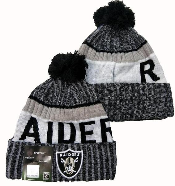 2020 Raider Bonnet Sideline Script Cuffed Bonnet avec Pom Femmes Hommes Sport Bonnet Tout l'équipe d'hiver laine tricotée Calotte 05 1000+