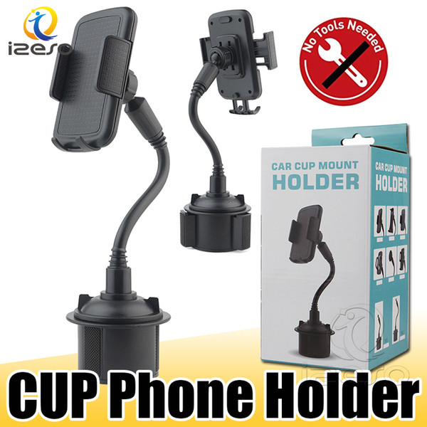 top popular Cup Holder Phone Mount Universal Adjustable Gooseneck Car Phone Cradle for Samsung Note 20 A71 iPhone 12 Pro Max with Retail Packaging izeso 2021