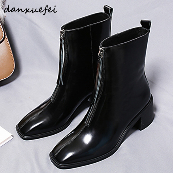 Women's Genuine Leather Front Zip Autumn Ankle Boots Low Heel Comfort Short Booties Square Toe Leisure Female Shoes for Women