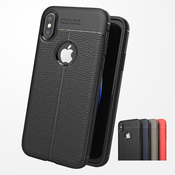 Soft TPU Silicone Case Anti Slip Leather Texture Phone Cases Cover For iPhone X XR XS XS MAX 8 7 6 6S Plus phone case cover