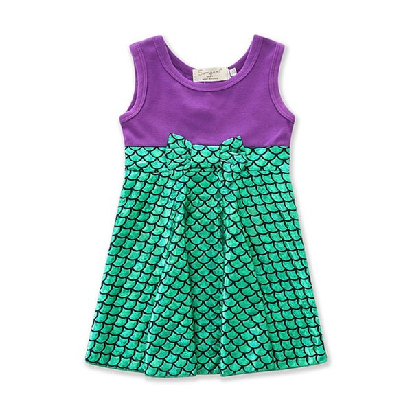 Kids Cosplay Girls Sleeveless Princess Clothes Halloween Party Costume Children Clothing Girls green Mermaid Dress size1-7 Yrs
