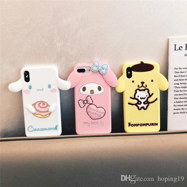 TOP Cute Cartoon 3D Pom Purin Cinnamoroll Dog My Melody Phone Case for iPhone 6 6s 7 8 Plus X XR XS Max Soft Silicone Rubber Cover