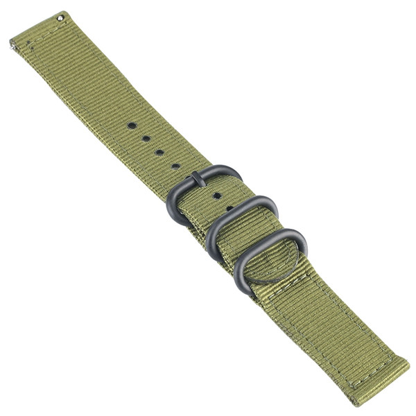 20MM Black/Green Soft Nylon Watch Strap 3 Rings Wrist Band with 2 Spring Bars Pin Buckle Durable Replacement Watches Band