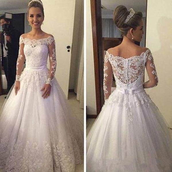 Vintage A Line Abiti da sposa Off spalla maniche lunghe in pizzo Appliqued Bow Sash con bottoni Sweep Train Abiti da sposa di alta qualità